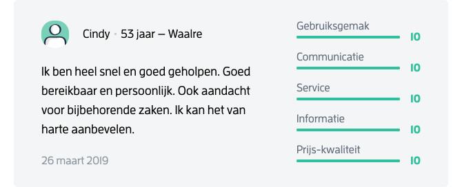 Klanten laten een recensie achter op Verklaringvanerfrecht.nl nadat ze zijn geholpen