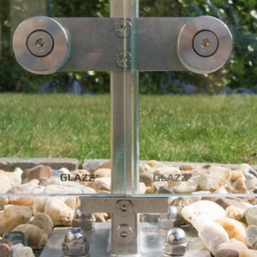 Glazen windscherm vrijstaand (2 vakken, tot 2,9 meter, 120 cm hoog)