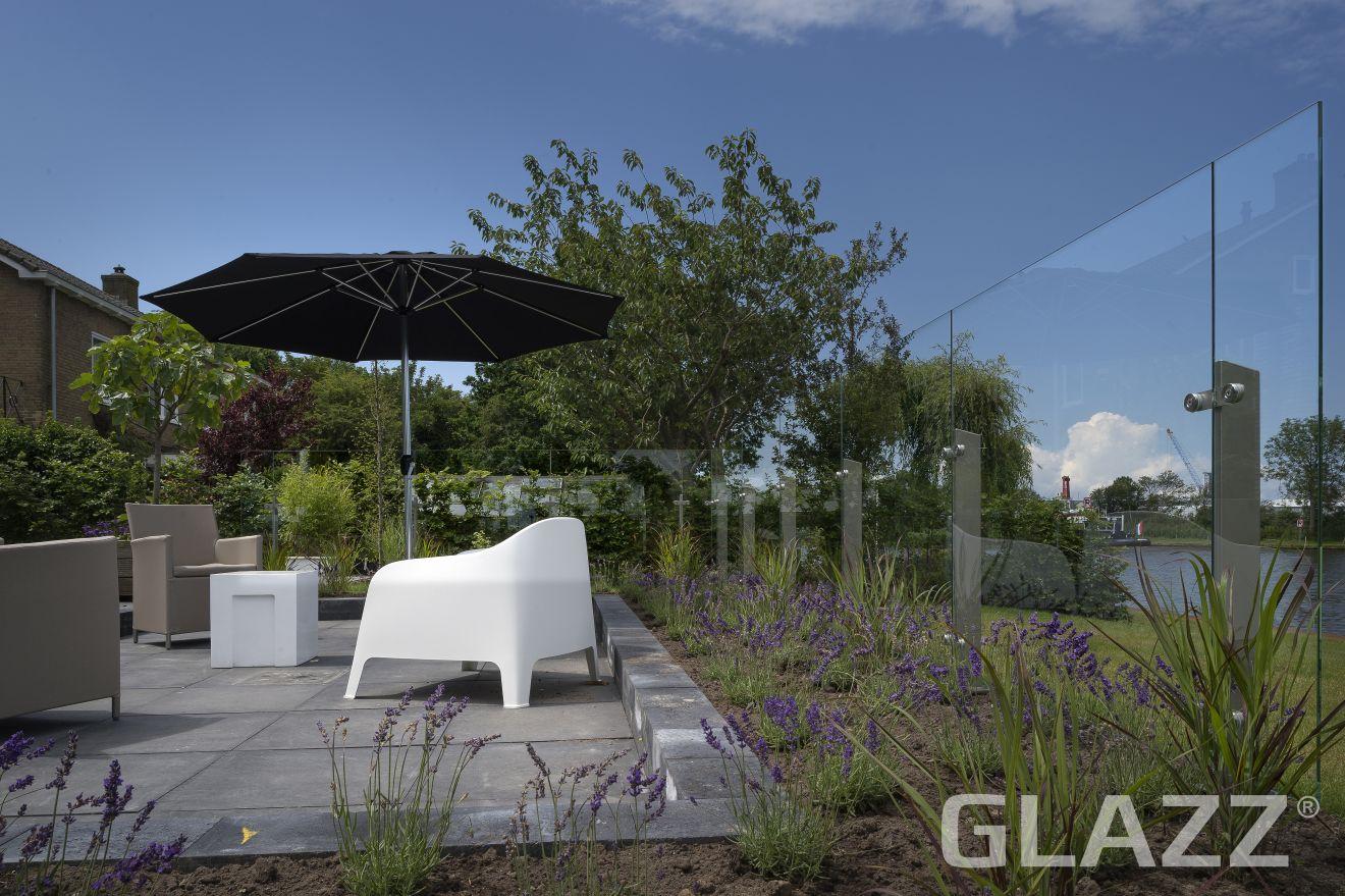 Glazen windscherm vrijstaand (3 vakken, tot 4,1 meter, 150 cm hoog)