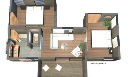 Studiomodule met terras, toilet, badkamer en twee slaapkamermodules