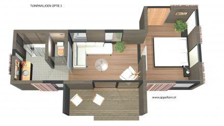 Studiomodule met terras, toilet, badkamer en slaapkamermodule