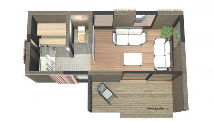 Studiomodule met terras, toilet en saunamodule