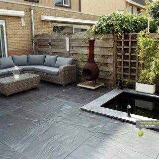 Terrastegels 100x100 cm antraciet per stuk (Rusticslate 100x100 cm antraciet, Siertegel beton)