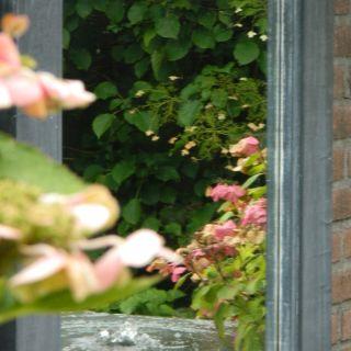 Tuinspiegel zink afmeting 160x50 cm met lijst van 12cm in buitenkwaliteit