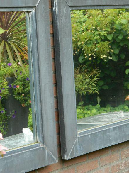 Tuinspiegel zink afmeting 75x75 cm met lijst van 12cm in buitenkwaliteit