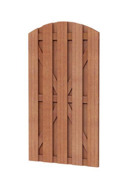 Hardhouten plankendeur met toog (Hardhouten toogpoort, art. 14504)