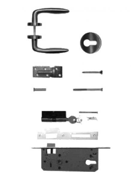 RVS klinkstel met cilinderslot t.b.v. poort op stalen frame (art. 19041)