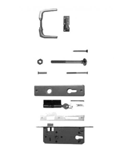 Aluminium klinkstel met cilinderslot t.b.v. poort op stalen frame. Incl. duimen (art. 19005)