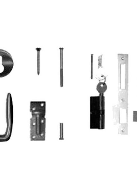RVS klinkstel met cilinderslot (Art. 19041)