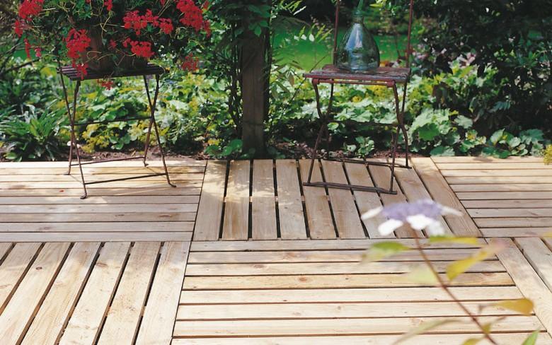 Vierkante houten Tuintegel 100x100 cm (Art. 10010)