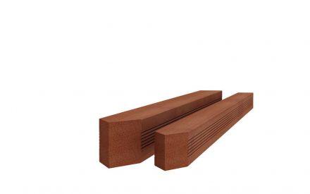 Hardhouten paal met reliëf gepunt 6,5x6,5x180cm (Art. 14208)
