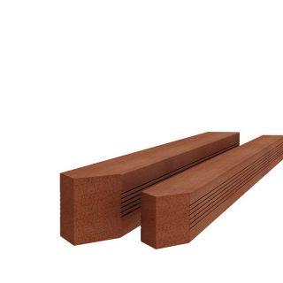 Hardhouten paal met reliëf gepunt 6,5x6,5x300cm (Art. 14206)