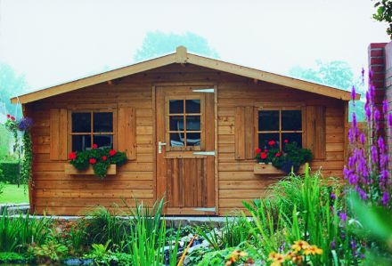 Tuinhuis 4.5x1.5 meter met 1 enkele deur en 2 ramen  De Merel
