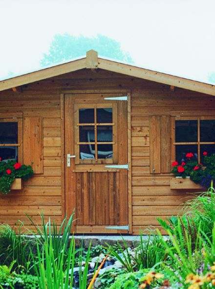 Tuinhuis 3x3.5 meter met 1 enkele deur en 2 ramen  De Merel