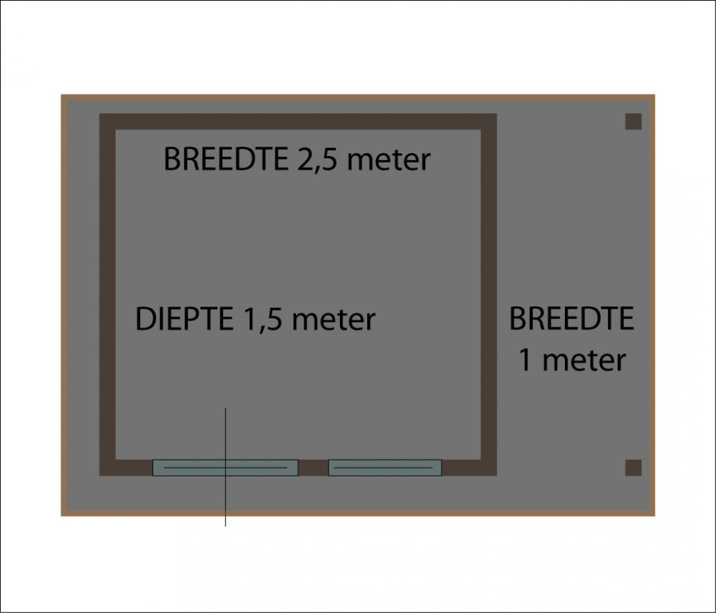 Tuinhuis 2.5x1.5m + Luifel 1 meter (De Kieviet)