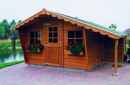 Tuinhuis  De Zilverreiger 3.50 x 1.50m + Luifel 1 meter