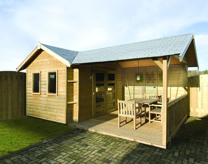 Tuinhuis met veranda (3.5 x 3.5 + 4.5 meter) Kardinaalsvogel