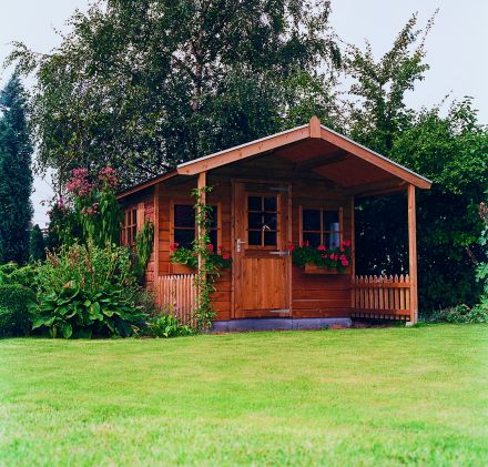 Tuinhuis met voorluifel (3 x 1.5 + 1,5 meter) De Goudvink