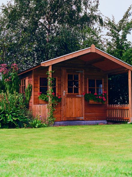 Tuinhuis met voorluifel (3.5 x 2 + 1,5 meter) De Goudvink