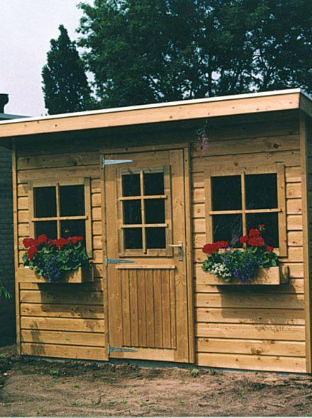 Tuinhuis met lessenaarsdak 450 x 150 cm (De Zwaluw)