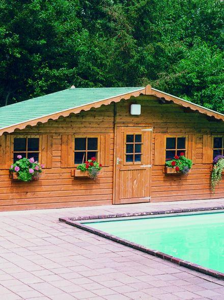 Tuinhuis met zadeldak 7.5 x 3 m + zijluifel 1 meter (De Fazant)