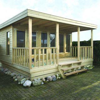 Verhoogd tuinhuis 4 x 3 + voorluifel 2 meter (Ooievaar)