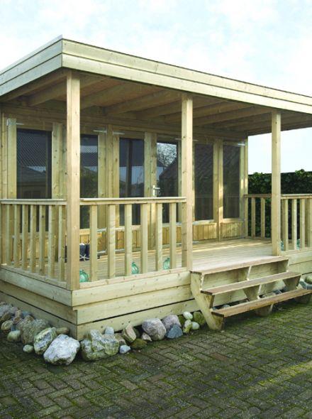 Verhoogd tuinhuis 4 x 4.5 + Veranda 3,5 meter (Ooievaar)