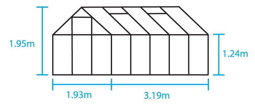 Hobbykas POPULAR 106, Blank aluminium (Tuinkas met veiligheidsglas)