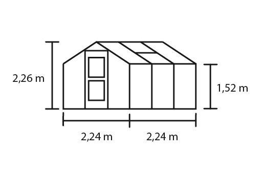 Hobbykas COMPACT 50, antraciet grijs gecoat (Tuinkas met tuindersglas)