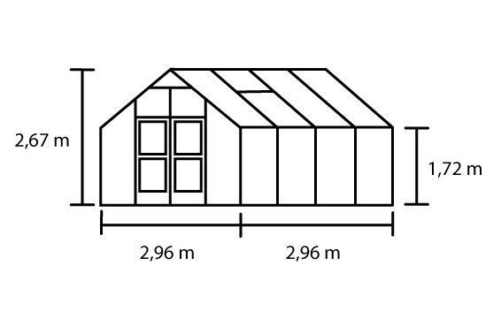 Hobbykas PREMIUM 88, blank aluminium (Tuinkas met tuindersglas)