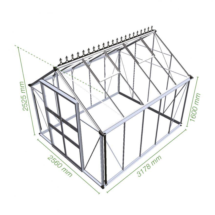 Tuinkas Blockley 108, blank, veiligheidsglas (Hobbykas)