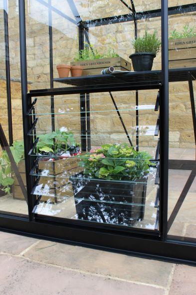 Louvreraam Premium & Gardener, 700 x 856mm veiligheidsglas, zwart (RW2770g)