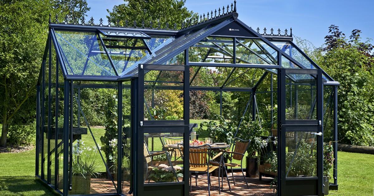 Tuinkamer orangery 152 antracietgrijs gecoat met veiligheidsglas 3mm orangery t model - Eigentijds tuinmodel ...