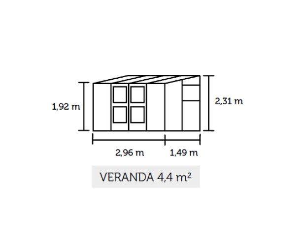 Muurkas JULIANA VERANDA 44, blank, gevels van veiligheidsglas 3 mm