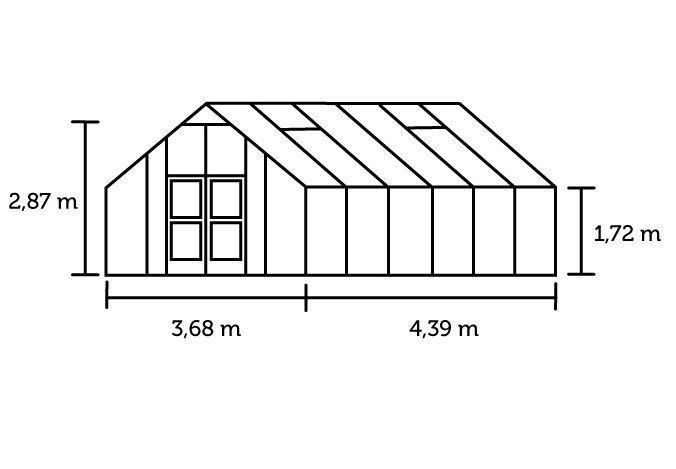 Hobbykas GARDENER 161 Blank aluminium (Tuinkas met veiligheidsglas)