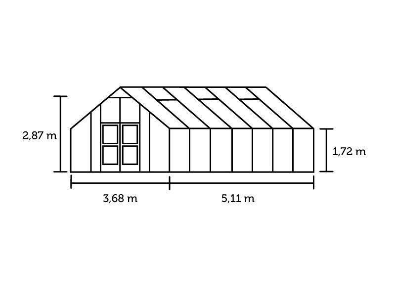 Hobbykas GARDENER 188 blank aluminium (Tuinkas met veiligheidsglas)