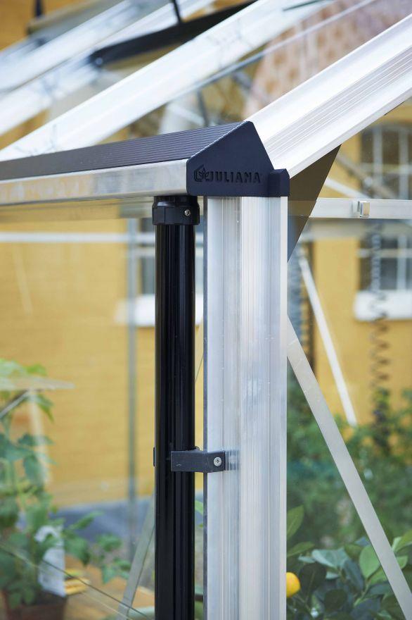 Hobbykas COMPACT 82, blank aluminium (Tuinkas met veiligheidsglas)