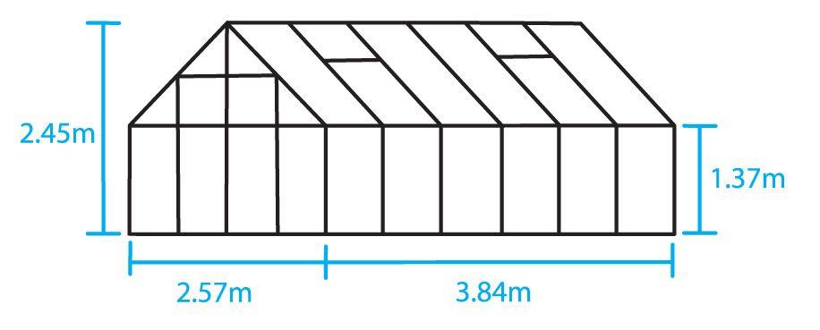 Hobbykas MAGNUM 128 blank aluminium (Tuinkas met tuindersglas)