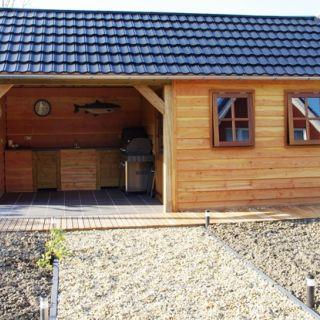 Tuinhuis Rustiek 02 (Tuinhuis van Douglashout met veranda 6,5 x 4 meter)