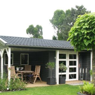 Tuinhuis met veranda Dordogne 01 (afmeting 6 x 5 meter)