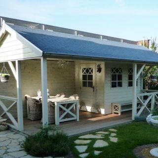 Tuinhuis met veranda Linge 01 (afmeting 6 x 3,5 meter)