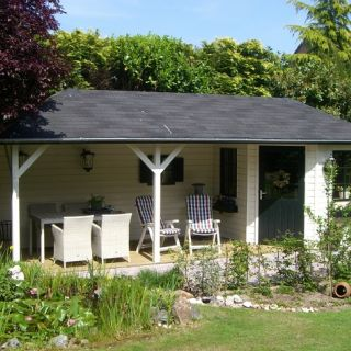 Tuinhuis met veranda Mississippi 03 (afmeting 7,5 x 2,5 meter)