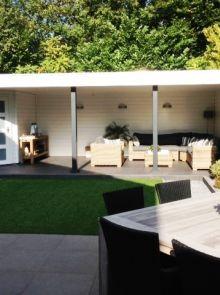 Tuinhuis met veranda IJssel 14 (afmeting 8,5 x 3,5 meter)
