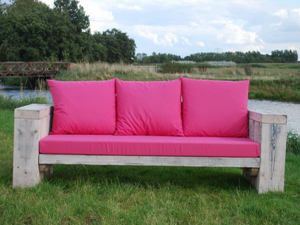 Stoere houten Loungebank 230 cm lang