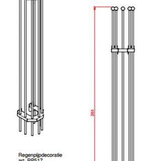 Regenpijprek 203 cm lang en 22 cm breed (Regenpijpdecoratie art. 517)