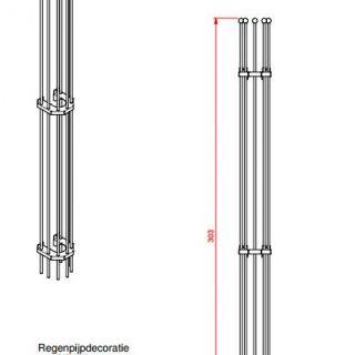 Regenpijprek 303 cm lang en 22 cm breed (Regenpijpdecoratie art. 527)