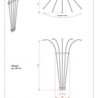 Metalen klimplantenrek Waaier art. W115