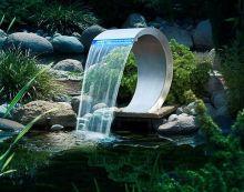 RVS design waterval Mamba LED waterval roestvrij staal met LED verlichting 54x30x32cm (Ubbink Garden, art. 7504459)