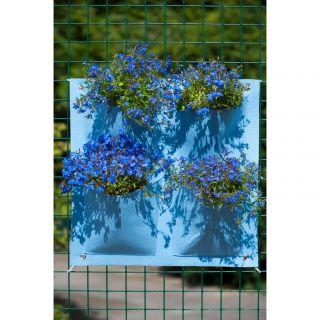 Plantentas vilt blauw met 4 zakken (20x19cm) H49,5x50cm