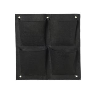Plantentas vilt zwart met 4 zakken (20x19cm) H49,5x50cm